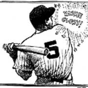 Cartoon New York Yankees Joe Dimaggio Poster