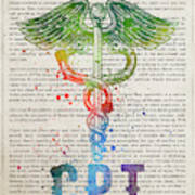Certified Personal Trainer Gift Idea With Caduceus Illustration  Poster