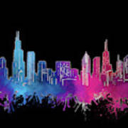 Chicago Skyline Watercolor 3 Poster