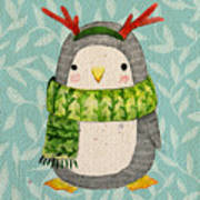 Cute Penguin In Scarf. Watercolor Poster
