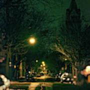 Dark Chicago City Street At Night Poster
