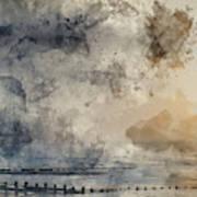 Digital Watercolor Painting Of Beautiful Dramatic Foggy Winter S Poster