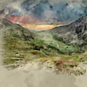 Digital Watercolor Painting Of Beautiful Dramatic Landscape Imag Poster