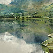 Digital Watercolor Painting Of Panorama Landscape Rowing Boats O Poster