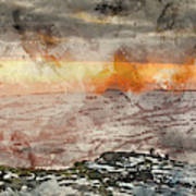 Digital Watercolor Painting Of Stunning Winter Panoramic Landsca Poster