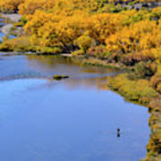 Distant Fisherman On The San Juan River In Fall Poster