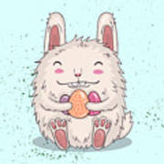 Easter Funny Bunny With Eggs. Vector Poster