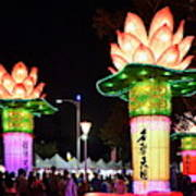 Large Lanterns In The Shape Of Lotus Flowers Poster