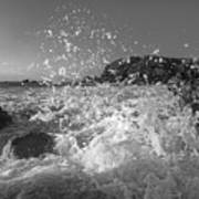 Ocean Wave Splash In Black And White Poster