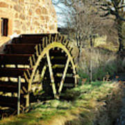 old mill wheel and stream at Preston Mill, East Linton Poster