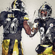 Pittsburgh Steelers.le'veon Bell And Antonio Brown Poster