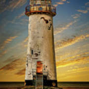 Point Of Ayr Lighthouse Sunset Poster