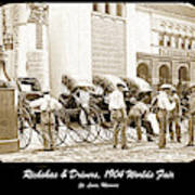 Rickshas And Drivers, 1904 Worlds Fair Poster