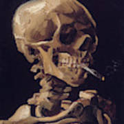 Skull With Cigarette  Poster