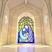 Stained Glass Window Nativity Scene Poster