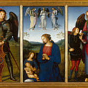 Three Panels From An Altarpiece  Certosa  Poster