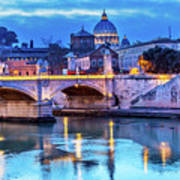 Vatican Dome And Tiber River, Ponte Poster