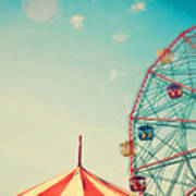 Vintage Colorful Ferris Wheel Over Blue Poster