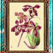 Vintage Orchid Antique Design Marble Caribbean-blue Poster