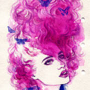 Woman Face. Hand Painted Fashion Poster