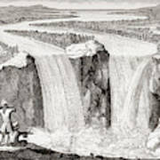 Copy Of Father Hennepin's 1677 Sketch Of Niagara Falls Redrawn In 1870s Poster