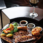 Sunday Roast Beef Traditional British Meal Set On Table Poster