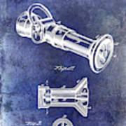 1896 Fire Hose Spray Nozzle Patent Blue Poster