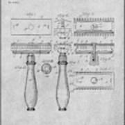 1901 Gillette Safety Razor Gray Patent Print Poster