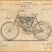 1901 Stratton Motorcycle Antique Paper Patent Print Poster