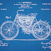 1901 Stratton Motorcycle Blueprint Patent Print Poster