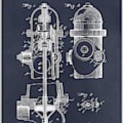 1903 Fire Hydrant Blackboard Patent Print Poster