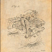 1913 Side Car Attachment For Motorcycle Antique Paper Patent Print Poster