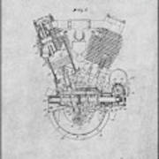 1914 Spacke V Twin Motorcycle Engine Gray Patent Print Poster