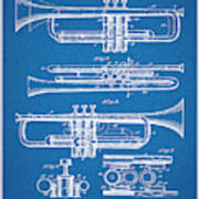 1916 Trumpet And Cornet Blueprint Patent Print Poster
