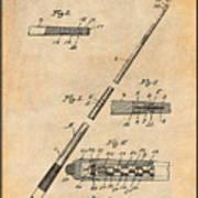 1917 Billiard Pool Cue Antique Paper Patent Print Poster