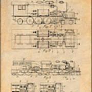 1925 Turbine Driven Locomotive Antique Paper Patent Print  Poster