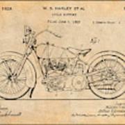 1928 Harley Davidson Motorcycle Antique Paper Patent Print Poster