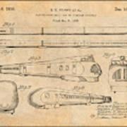 1935 Union Pacific M-10000 Railroad Antique Paper Patent Print Poster