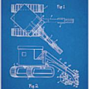 1937 Backhoe Excavator Blueprint Patent Print Poster