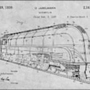 1937 Jabelmann Locomotive Gray Patent Print Poster