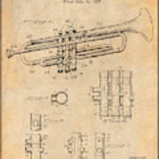 1937 Trumpet Antique Paper Patent Print Poster