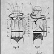 1947 Jacques Cousteau Diving Suit Patent Print Gray Poster