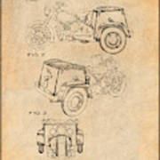 1952 3 Three Wheel Motorcycle Antique Paper Patent Print Poster