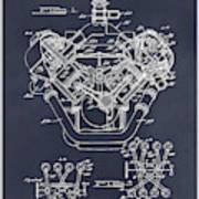 1954 Chrysler 426 Hemi V8 Engine Blackboard Patent Print Poster