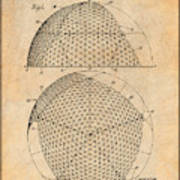 1954 Geodesic Dome Antique Paper Patent Print Poster