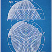 1954 Geodesic Dome Blueprint Patent Print Poster