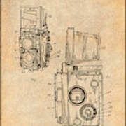 1960 Rolleiflex Photographic Camera Antique Paper Patent Print Poster
