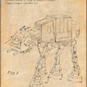 1982 Star Wars At-at Imperial Walker Antique Paper Patent Print Poster