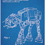 1982 Star Wars At-at Imperial Walker Blueprint Patent Print Poster