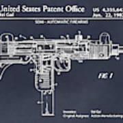 1982 Uzi Submachine Gun Blackboard Patent Print Poster